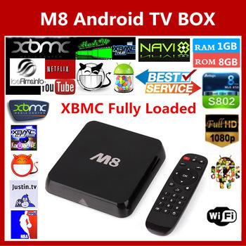 Original M8 Amlogic S802 XBMC fully loaded Android TV Box Quad Core Mali450 4K 2.4G/5G Dual WiFi Smart IPTV HD Media Player(China (Mainland))