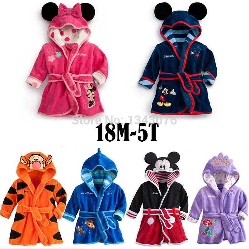 Baby bathrobe Children pajamas Boys Coral Fleece cartoon Mouse hoodie girl velvet bath robe kids towel Infant nightgown Homewear(China (Mainland))