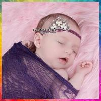 Tiara de cabelo Pearl Princess Crown Tiara Headband Royal Baby Elastic hair bands Gift of children accessories #8W0038 10pcs/lot