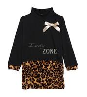 Leopard Dress Baby Girls Clothes Dress Stitching Bow Winter High Collar Bottoming Black Shirt Ribbon Corsage B22 CB033553