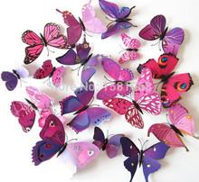 12 pezzi 3d farfalla adesivi murali farfalle docors fai da te arte decorazioni di carta(China (Mainland))