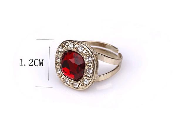 Red 18k gold full rhinestone joint ruby brief adjustable ring female B3 TC TT802