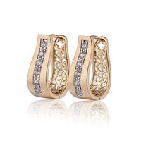 New 2014 18K Gold Plated CZ Zirconia Hoop Earrings For Women Bijoux CC Ear Ring Earings Fashion Free shipping 9E18K-94