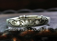 BB-152  Traditional Tibetan silver metal Bangle,60mm,Lotus and fish cuff bangle,vintage bracelet