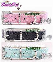 MOQ:12pcs!(7colors&4sizes)Free Shipping! Faux Croc PU Leather Dog Collars with Bone Pendant Charm,Dog Fashion Supplies