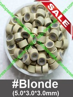 SALE Silicone Micro Rings Links Beads for hair extensions 5mm #Blond 500pcs/lot