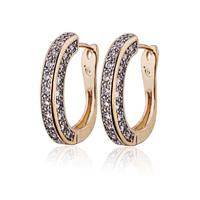 Aliexpress Sale 2014 Crystal Earring 18K Gold Plated CC Hoop Earrings For Women Brinco Earings Fashion Free Shipping 25E18K-96