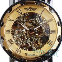 WINNER Men Band Automatic Skull Self-wind Mechanical Watch Wristwatch Free Ship