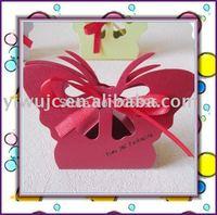 FREE SHIPPING--Metallic Butterfly Shaped Red Wedding Favor Box,Candy Box, Chocolate Box (JCO-402E)