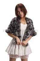 YR-023 Rex rabbit handmade fur shawl chinchilla dyed ~DROP SHIPPING~