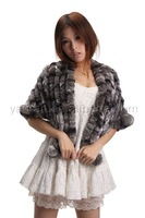 YR-023 Rex rabbit handmade fur shawl chinchilla dyed ~DROP SHIPPING~