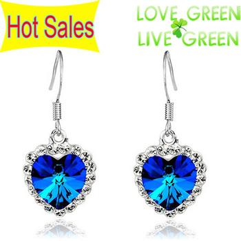 Free shipping Austrian Crystal Drop Pendant For Lovers Ocean Heart Earrings Ear jewelry 40182