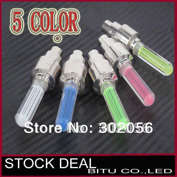 50pcs/lot Drop Shipping 5 color on sale LED Flash Tyre Wheel Valve Cap wheel Light