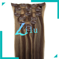 15''18''20''22'' Remy Clip in 7pcs Human Hair Extension #4/27