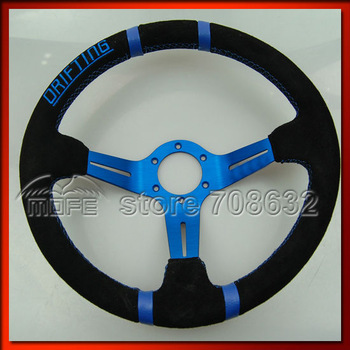 SPECIAL OFFER Original Logo 5PCS Blue Spoke & Stitch 14 inch 350mm 90mm Deep Corn Suede Drifting Racing Car Steering Wheel