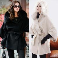 2014 Winter Ladies Sexy Fox Fur Collar Outerwear Women's Fashion Long Black White Coat Fur Jacket Wool Clothes overcoat S M L