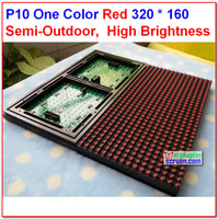 10mm pixel semi-outdoor  indoor  red 320*160 32*16  one color hub12  monochrome  p10 led sign module,p10 single red panel