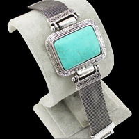 Vintage Look Tibetan Silver Alloy Retro Craft Square Turquoise Cuff Belt Bracelet Bangle B072