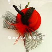 Wholesale mini top  formal hat Hair Clips Feather Hair Fascinator 12pcs/LOT 10cm 13cm