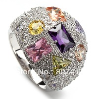 TRENDY Morganite Pink Blue yellow Cubic Zirconia 925  fashion Silver ring R408 sz#6 7 8 9