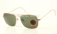 Hot Sell Designer Sunglass Brand Sunglass Men/Women's Fashion 3136 CARAVAN Gold Sunglass Green Lens UV400 58mm Box