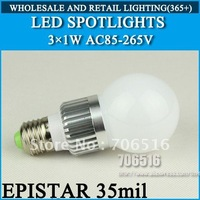 LED Spotlights Epistar 35mil 3W 300lm E27 E14 AC85V~265V Cool White / Warm White, Free Shipping