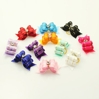 Armi store Handmade For Pet Simple And Lovely Ribbon Bow Grooming Dog Show Supplies 10Pcs / lot Mix Colors