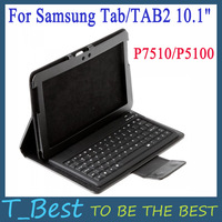 Leather Case With Wireless Bluetooth Keyboard for Samsung Galaxy Tab 10.1 P7510/P5100 ,Free Shipping+Drop Shipping