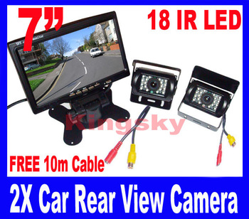 "2x 18 IR Reversing Camera + 7"" LCD Monitor Car Rear View Kit free 10m video cable for long Bus Truck"