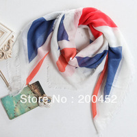 Free shipping! 2013 fashion square scarf  shawl with Flag Print( PP013L)