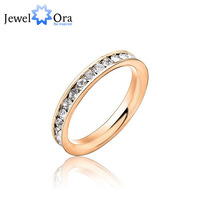 JewelOra wholesale fashion womens jewelry accessories lot womens rings fashion Stainless Steel 18KGP Channel-Set  #RI100190