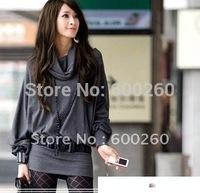 Free shipping Women's Long Sleeve T-shirt Top Mini Dress Blouse Ruff Neckline Sexy 2 Colors#5117