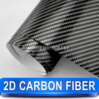 Black 2D Carbon Fiber Sticker 1.52*30m Glossy High Quality Calendared PVC Car Decoration Vinyl Free Shipping Wholesale