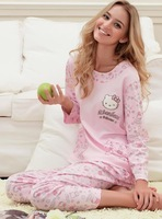 Женская пижама Mother clothing spring and autumn women's plus size lounge sleepwear long-sleeve 100% cotton nightwear set