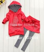 Retai 2015 ~New  girls Mickey hoodies+striped skirt pants leggings 2pcs clothing sets minnie kids cartoon suits,in stock ,1set