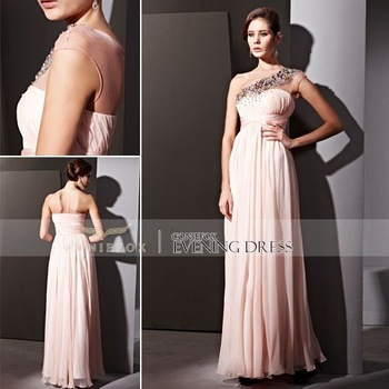 Coniefox 81020 One-Shoulder Elegant Pink Bridesmaid Wear