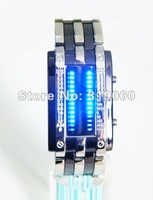 Column White LED Digital Watch with Stainless Steel Watchband (Display Time / Date) free shipping