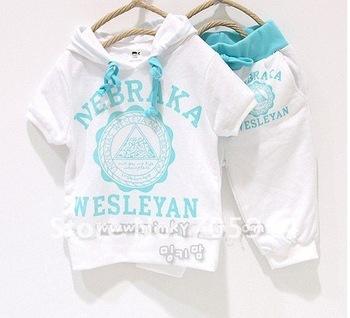 116#free shipping 5sets/lot nebraka wesleyan children short sleeve shirt pant clothing set wholesales