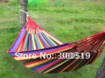 OU003 Canvas 190 X 80cm Single hammock tourism camping hunting Leisure Fabric Stripes Free Shipping