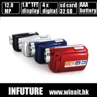 12MP 720P HD Digital Video Camera with 4 x Digital Zoom, 1.8 LCD Screen Mini DV Digital Camcorder, Free Shipping