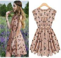 2 colors Vintage summer elk pattern print waist women dress fashion 2014 new/Free shipping S M L XL sizes dress summer/LY2014