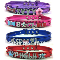 Free Shipping ! MOQ 12pcs,Two Tier Metallic leather Personalized Dog Collars,4 color available, price exclude the sliders