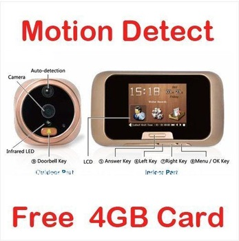 "Free shipping!!2.8"" LCD Video Photo Door Viewer Peephole Doorbell IR Camera DVR&4GB TF Card"
