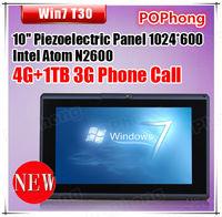 1TB windows 7 tablet  pc 10 inch 3G sim card slot built in 3G phone call Intel atom N2600 1.6GHZ 4G Ram