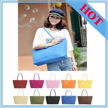 summer bag Hot sale! Korea Fashion Simple Woven Straw Tote Beach Bag,Multicolor