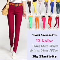 Extra Plus Size Waist 64cm-100cm,2014 New Arrived  Women Candy Pants,Jeans,13 Color Large Size,Part Free Shipping, Wholesale