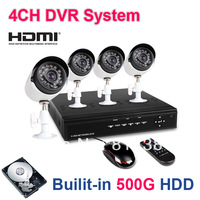 4CH IR Weatherproof Outdoor Surveillance CCTV Camera Kits Home Security 4ch DVR Recorder System with 500G HDD