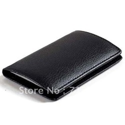Black Leatherette+Stainless Steel Business Credit ID Name Card Holder Case w/Gift Box. Free Shipping!(China (Mainland))
