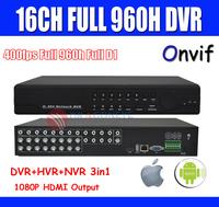 Full 960h 16ch CCTV DVR Recorder Full D1 1080p HDMI Output HVR NVR DVR 3 in one Mobile Phone & Network  DVR Recorder