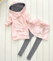 Factory price,hot sell~New style baby girls sports suit ,baby mickey Sets hoody skirt pants children's wear,(4 set/lot)